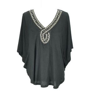 HALE BOB Black Beaded Batwing V-neck Top